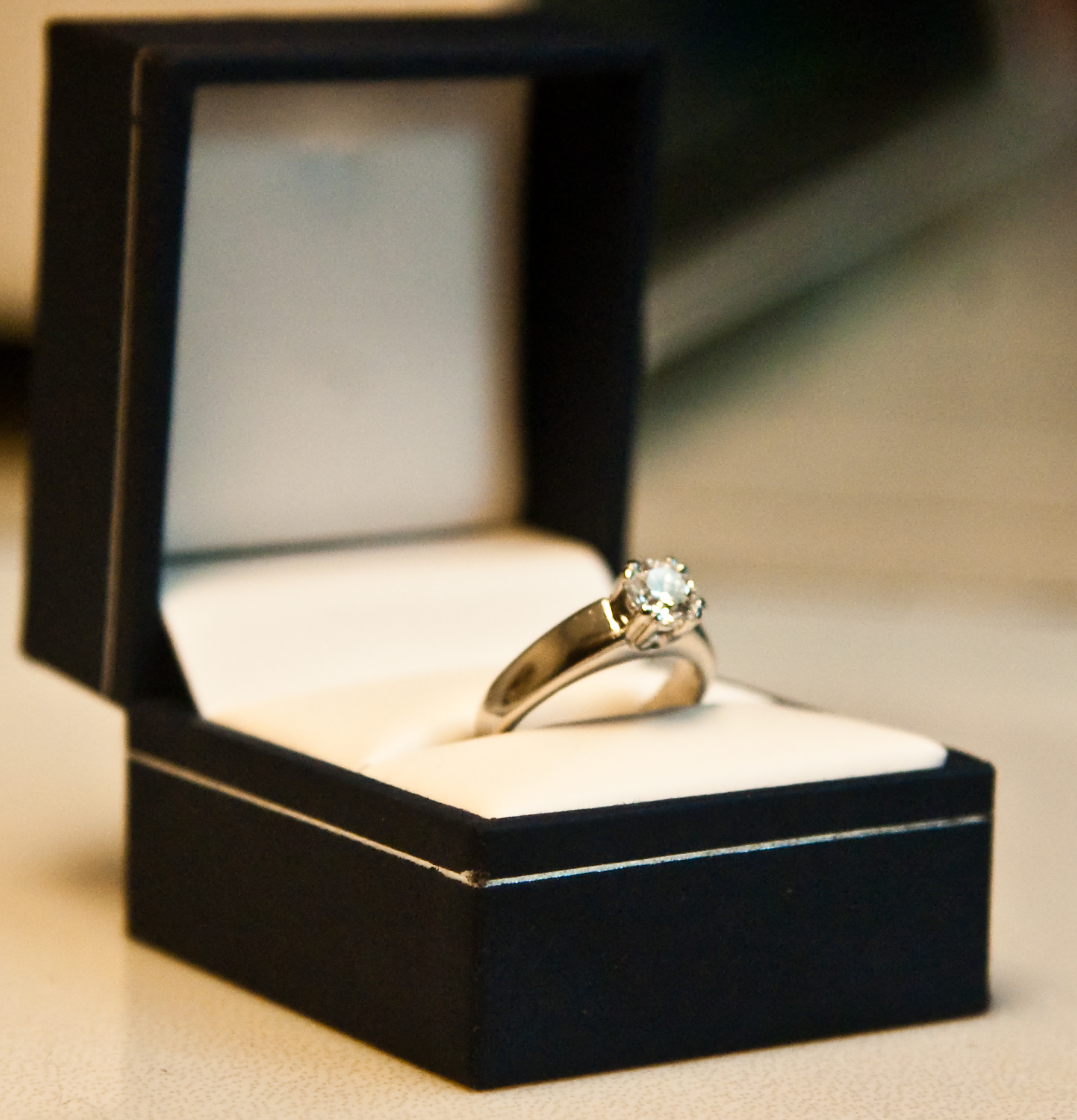 gold wedding ring in box - Wedding Ring Box